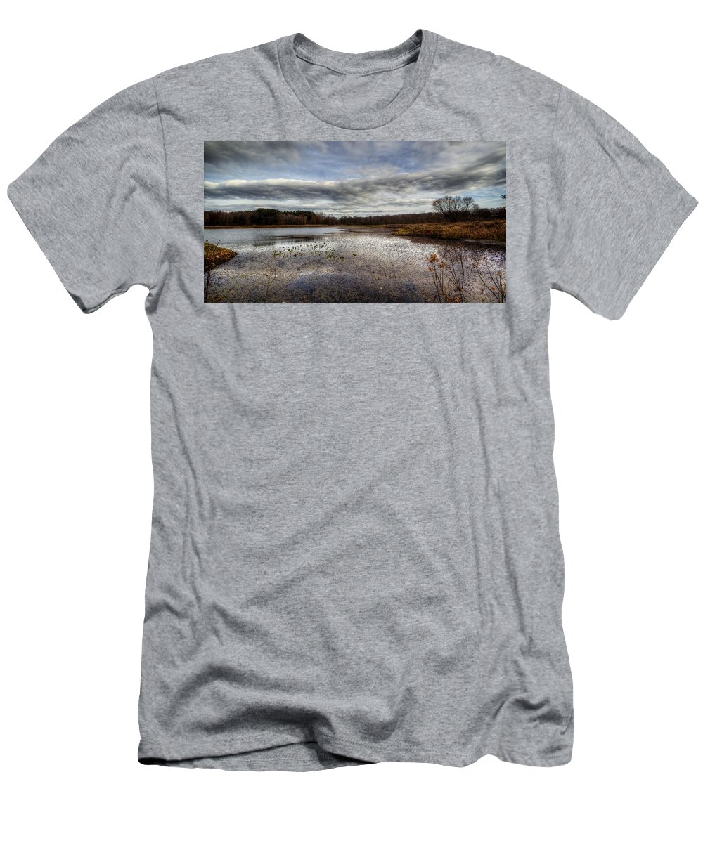 Water Men's T-Shirt (Athletic Fit) featuring the photograph Small Lake Scene by David Dufresne