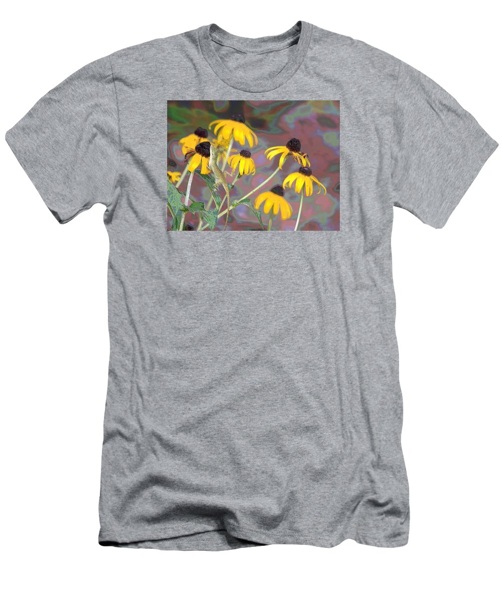 Lizard Men's T-Shirt (Athletic Fit) featuring the photograph Smell The Flowers Lizard by Sheri McLeroy