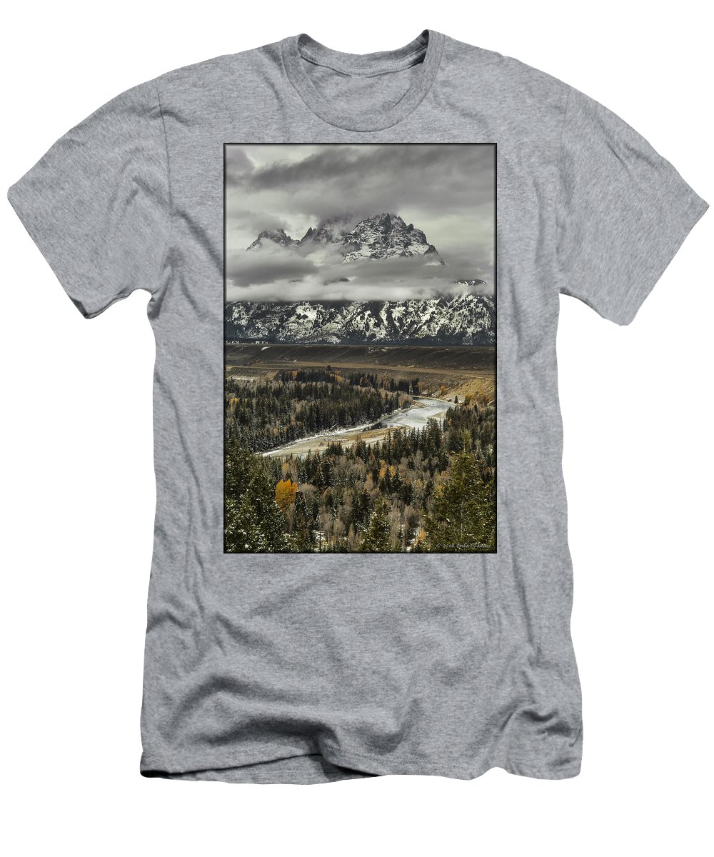 Lake Men's T-Shirt (Athletic Fit) featuring the photograph Snake River - Tetons by Erika Fawcett
