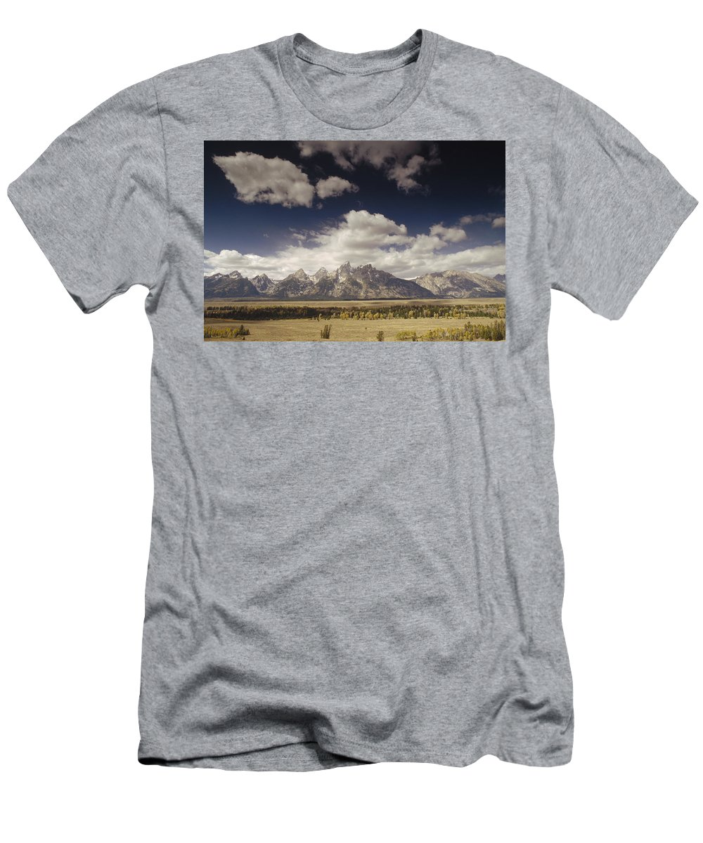 Feb0514 Men's T-Shirt (Athletic Fit) featuring the photograph Snake River Valley Grand Teton Np by Gerry Ellis