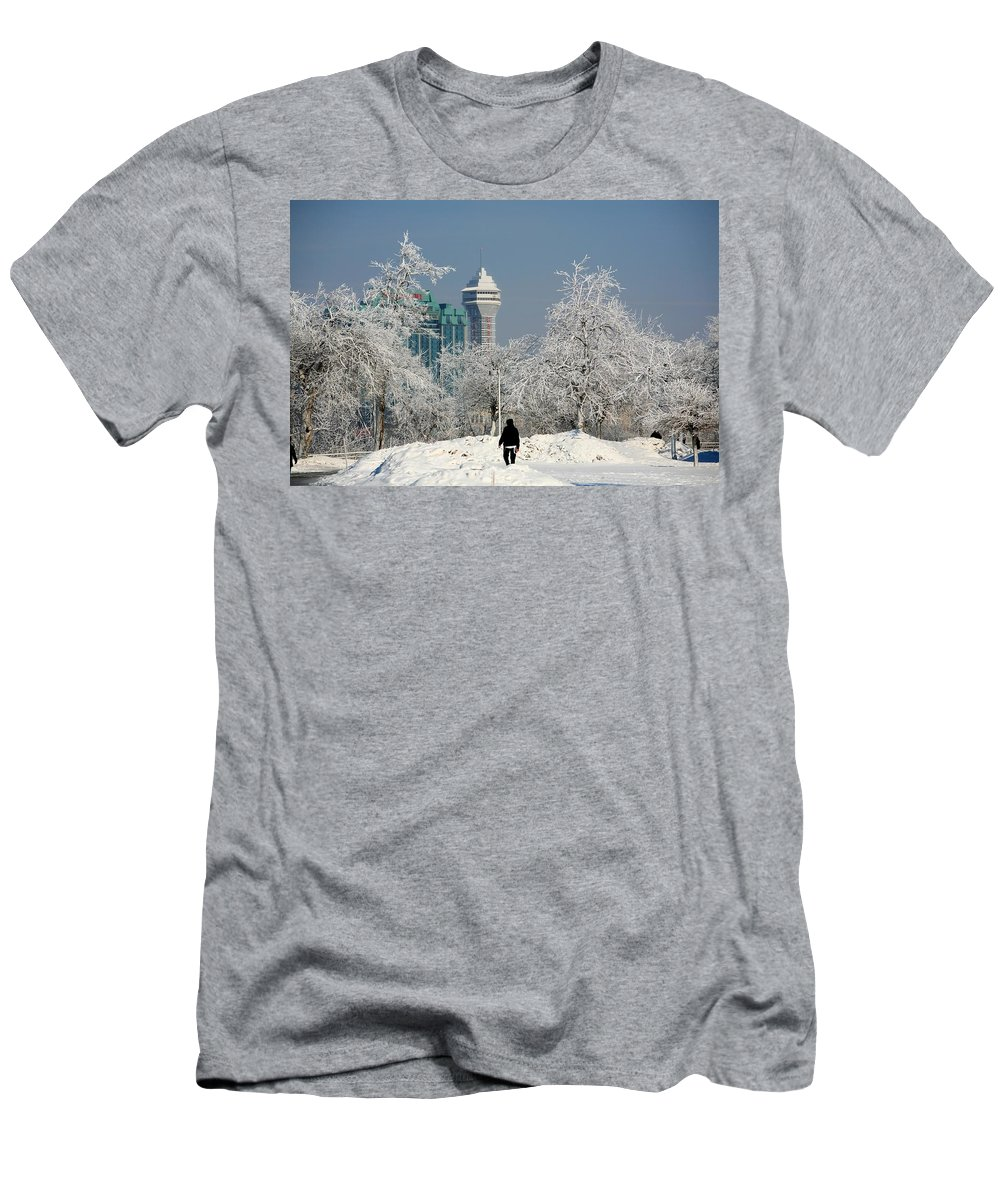 Niagara Falls Men's T-Shirt (Athletic Fit) featuring the photograph Snow And Ice by Eric Swan