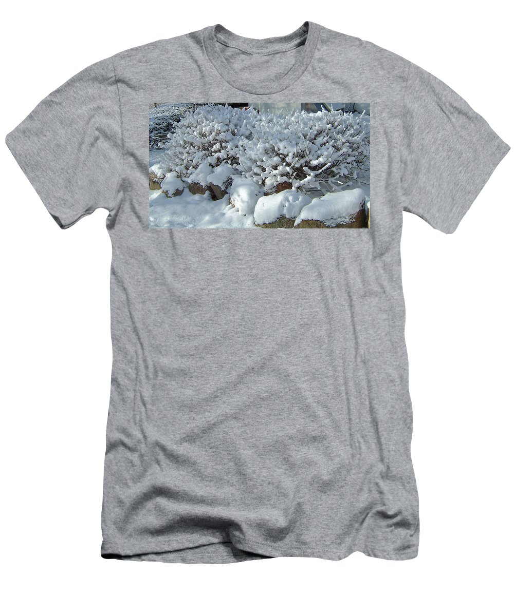 Wet Snow Men's T-Shirt (Athletic Fit) featuring the photograph Snow Frosted Bush by Susan Wyman