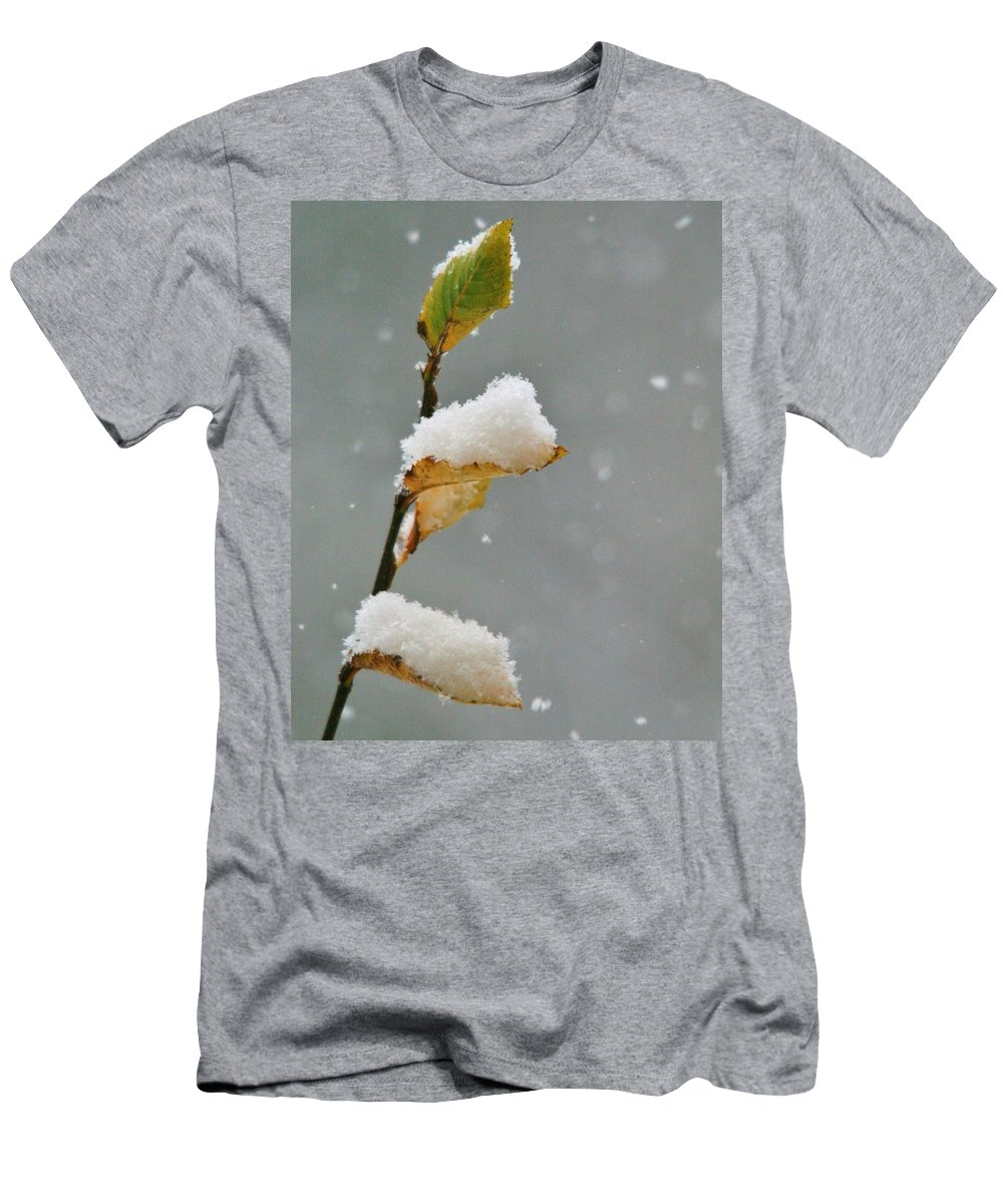 Snow Men's T-Shirt (Athletic Fit) featuring the photograph Snow Kissed by Karen Jones