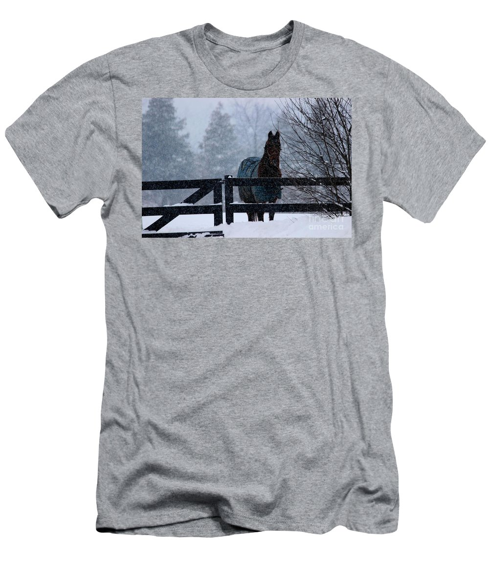 Horse Men's T-Shirt (Athletic Fit) featuring the photograph Snowstorm Horse by Janice Byer
