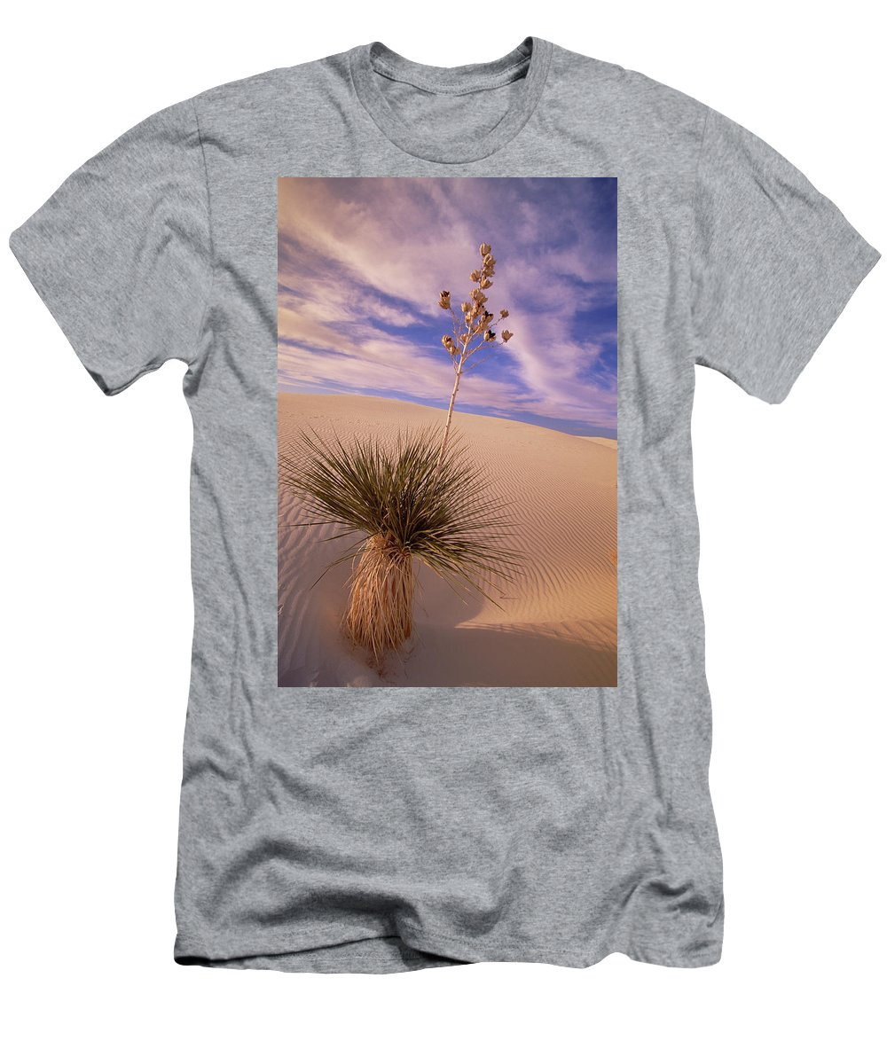 00341457 Men's T-Shirt (Athletic Fit) featuring the photograph Soaptree Yucca On Dune White Sands by