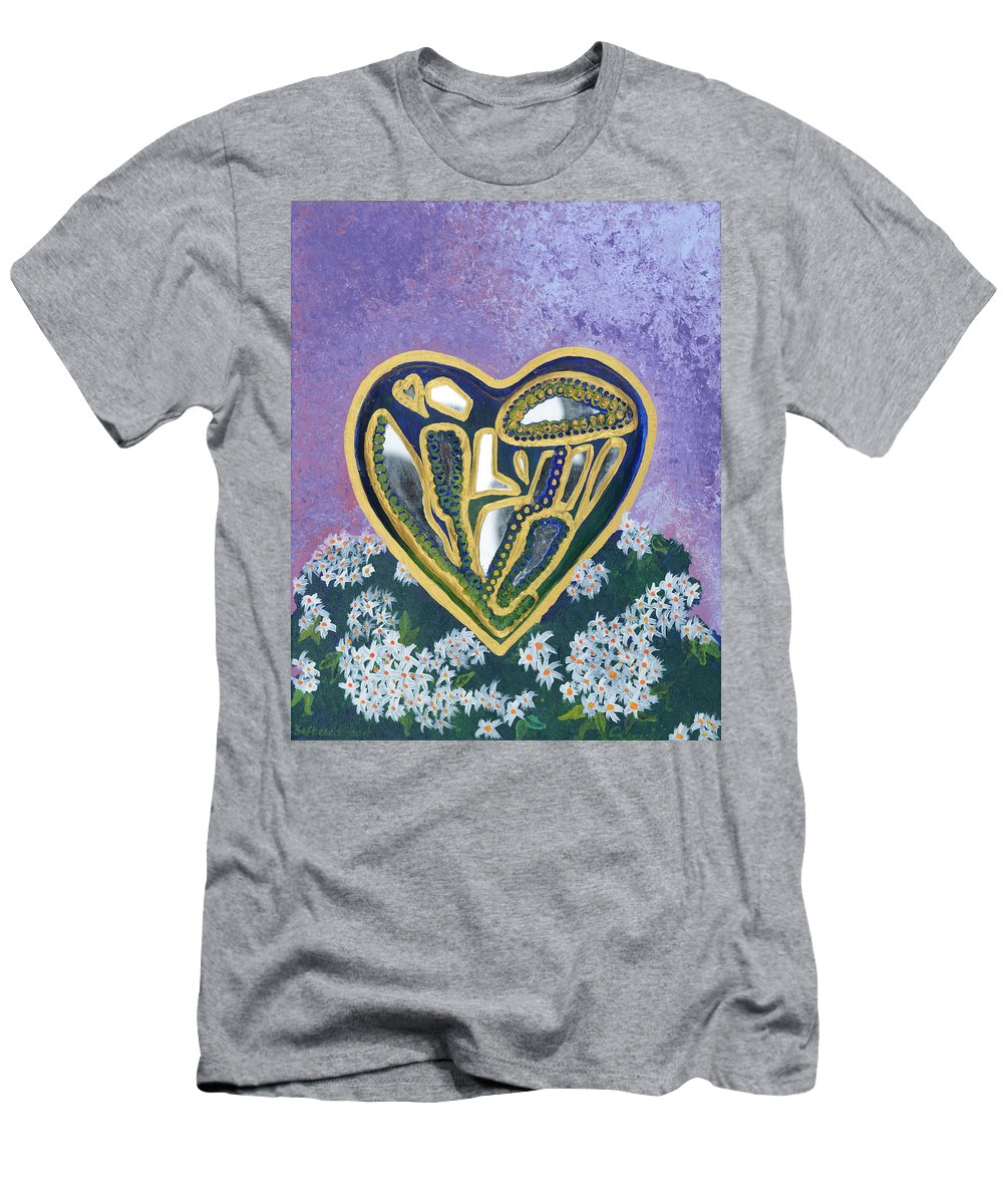 Softened Heart Men's T-Shirt (Athletic Fit) featuring the painting Softened Heart Best Reflections Energy Collection by Catt Kyriacou