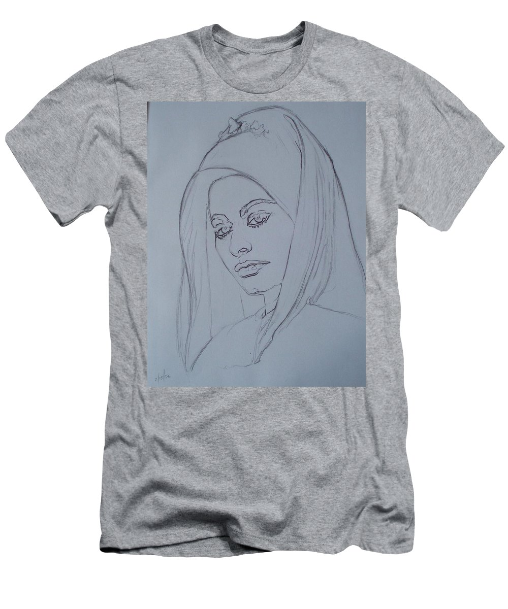 Woman Men's T-Shirt (Athletic Fit) featuring the drawing Sophia Loren In Headdress by Sean Connolly