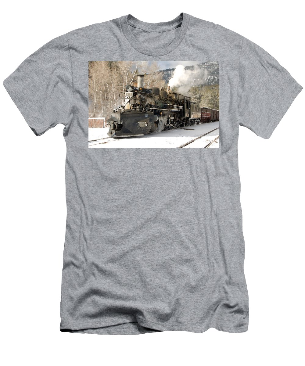 Steam Train Men's T-Shirt (Athletic Fit) featuring the photograph Southbound Through Rockwood by Ken Smith