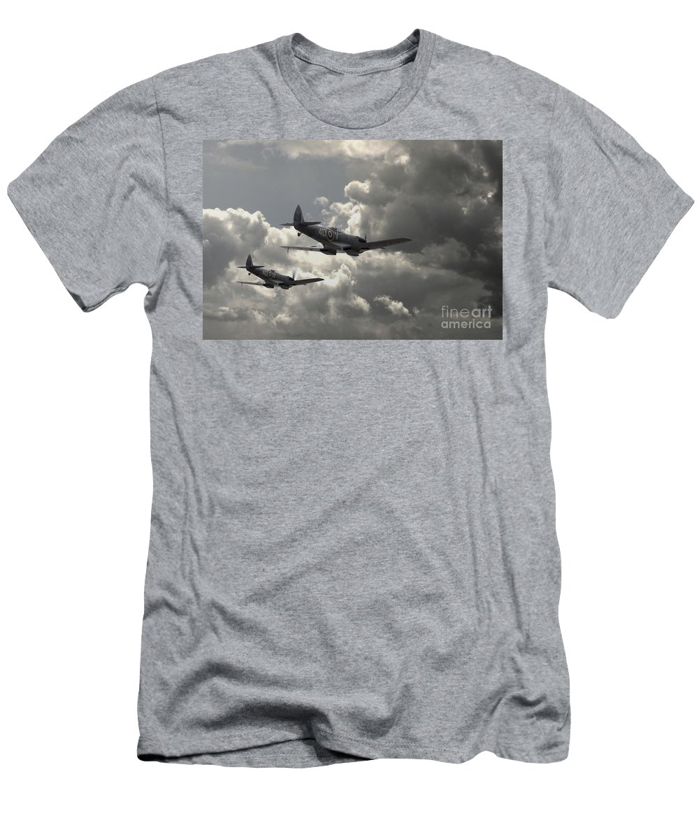 Raf Spitfire Men's T-Shirt (Athletic Fit) featuring the digital art Spitfire Wingman by J Biggadike