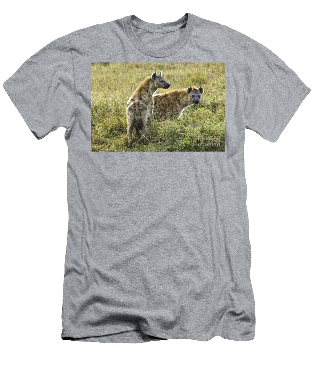 African Fauna Men's T-Shirt (Athletic Fit) featuring the photograph Spotted Hyaena by John Shaw