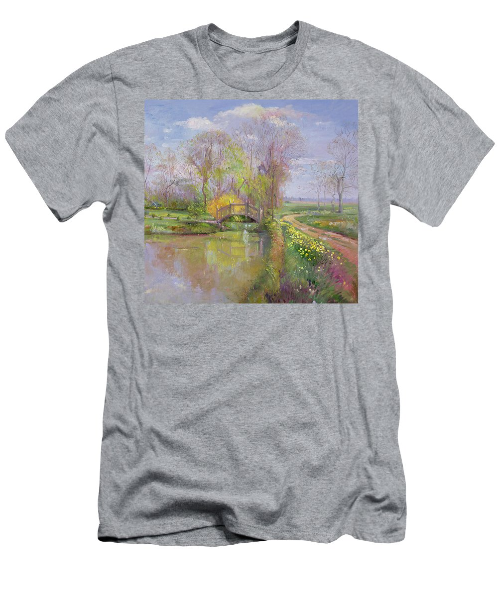 Path; Landscape; River; Countryside; Rural Men's T-Shirt (Athletic Fit) featuring the painting Spring Bridge by Timothy Easton