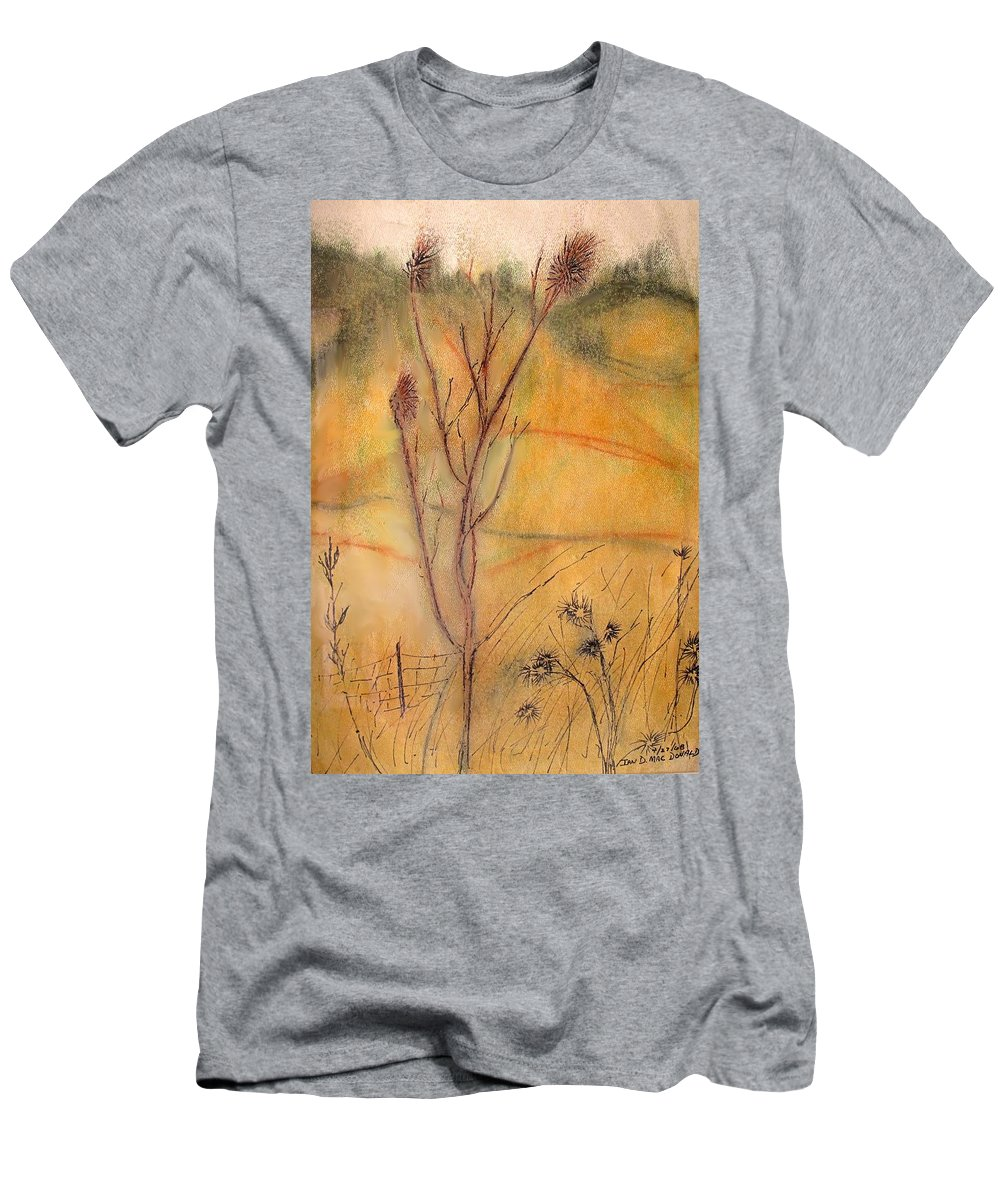 Spring Men's T-Shirt (Athletic Fit) featuring the drawing Spring Fields by Ian MacDonald