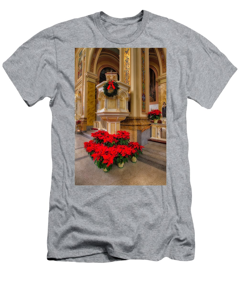 St. Mary Of The Angels Men's T-Shirt (Athletic Fit) featuring the photograph St. Mary Of The Angels Christmas Lectern by Lindley Johnson