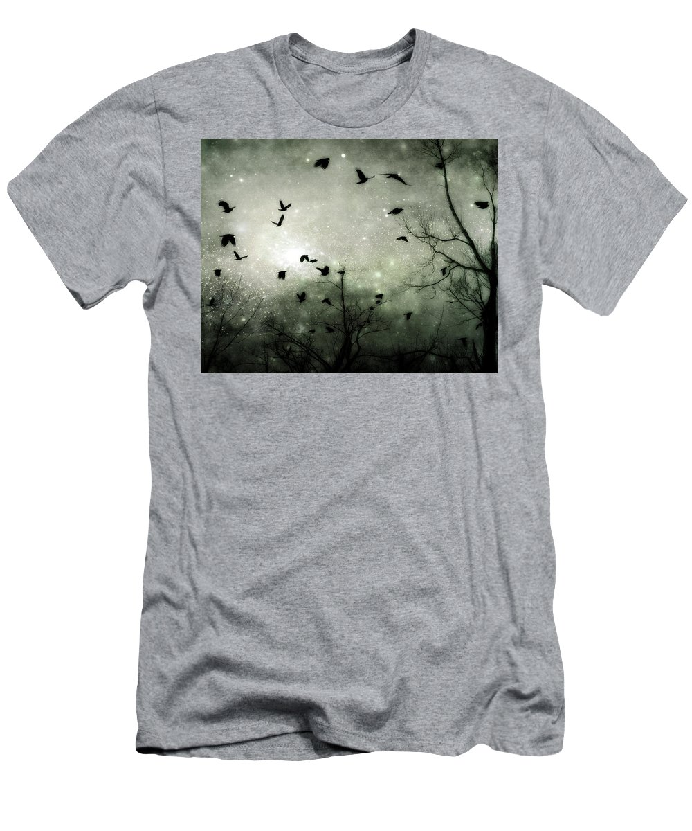 Birds Men's T-Shirt (Athletic Fit) featuring the digital art Starry Night Reflections by Gothicrow Images