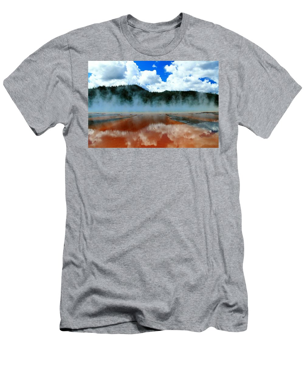 Yellowstone National Park Men's T-Shirt (Athletic Fit) featuring the photograph Steams And Reflections by Catie Canetti