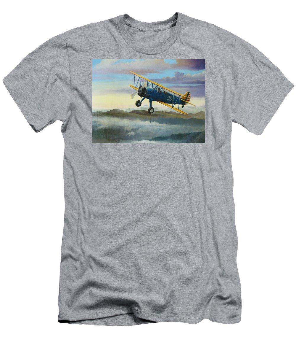 Stearman Men's T-Shirt (Athletic Fit) featuring the painting Stearman Biplane by Stuart Swartz