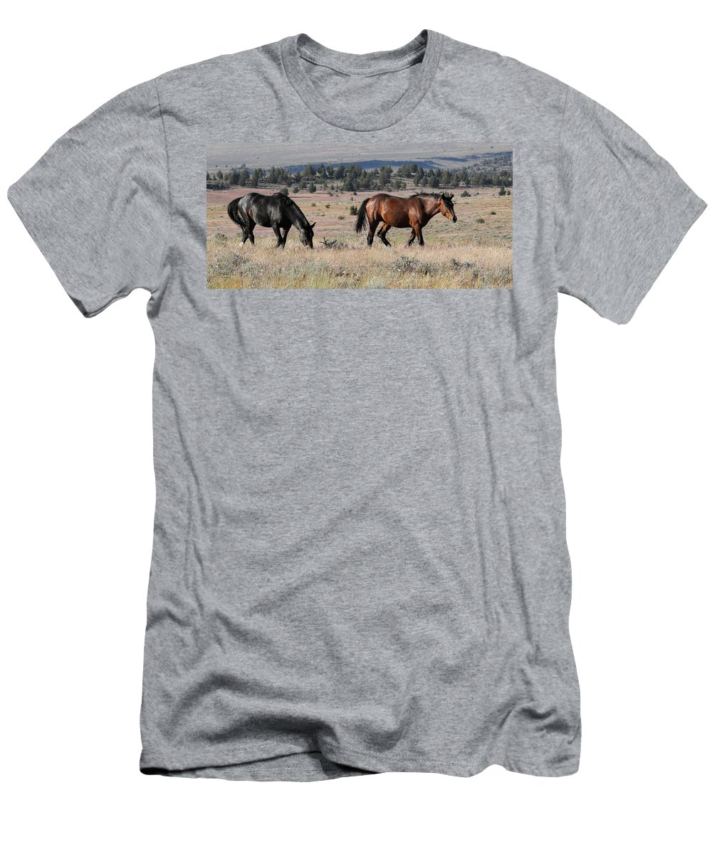Wild Horses Men's T-Shirt (Athletic Fit) featuring the photograph Steens Wild by Steve McKinzie