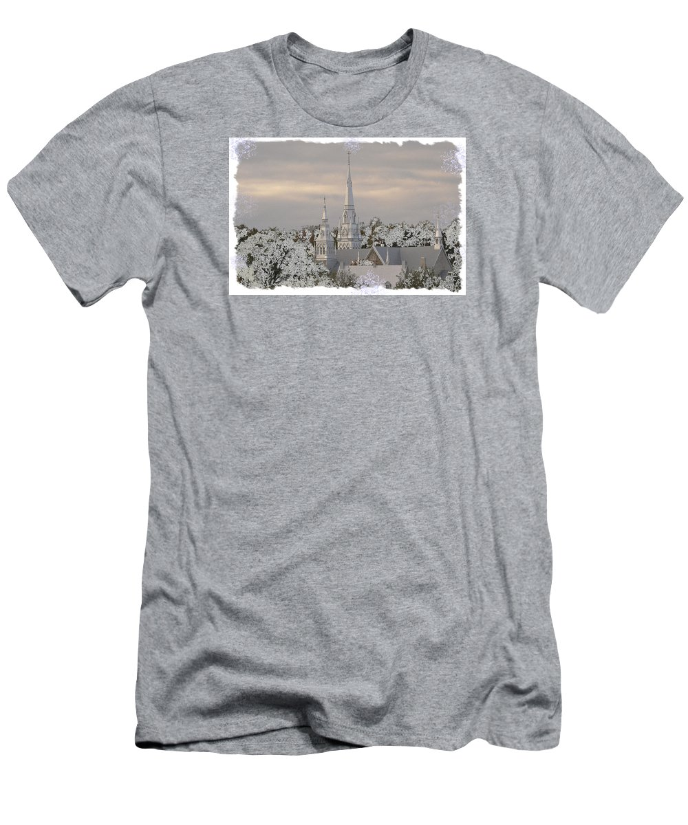 White Men's T-Shirt (Athletic Fit) featuring the photograph Steeples In The Snow by Nadalyn Larsen