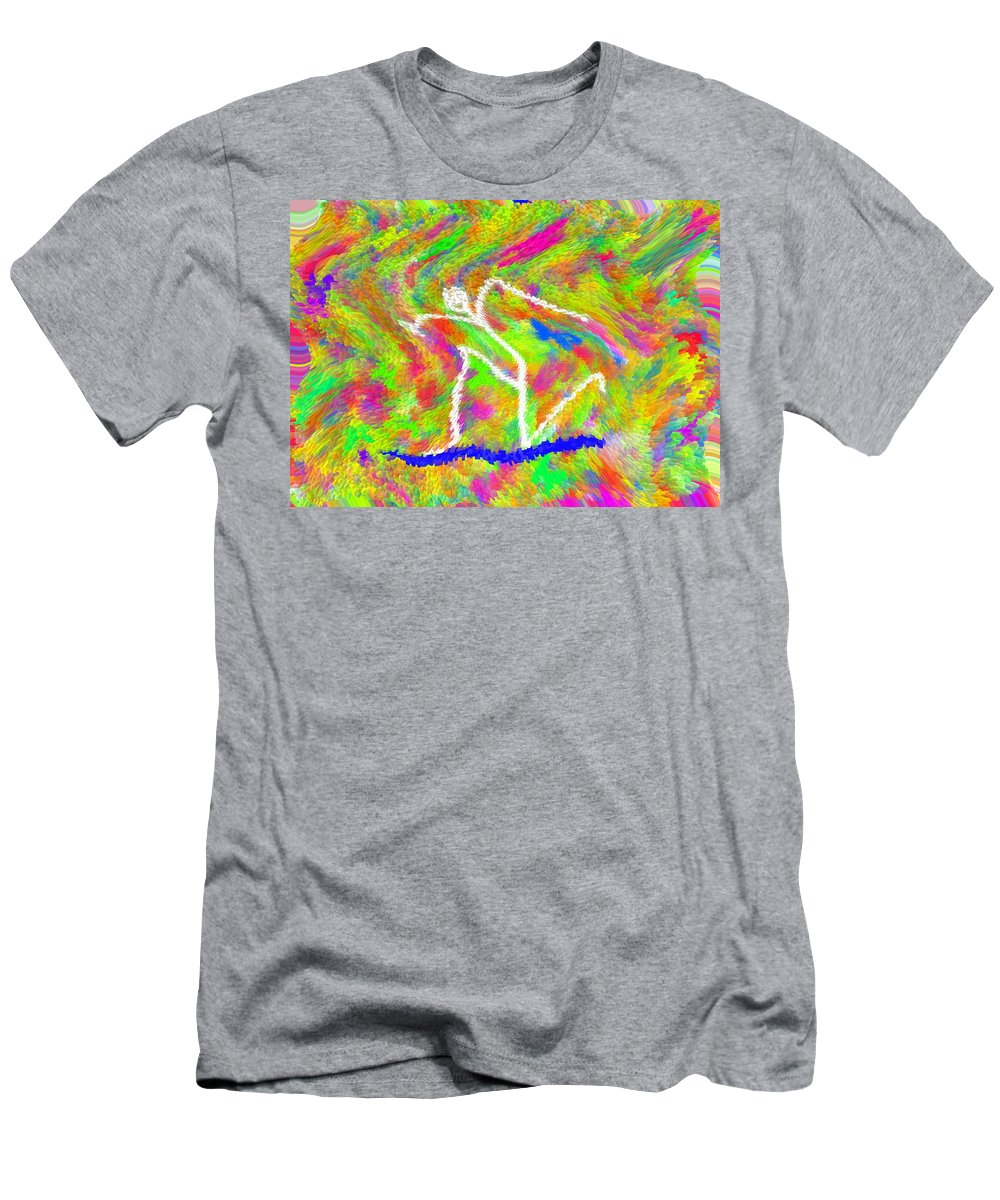 Digital_art Men's T-Shirt (Athletic Fit) featuring the painting Stickman Surfing The Colors by Carl Deaville