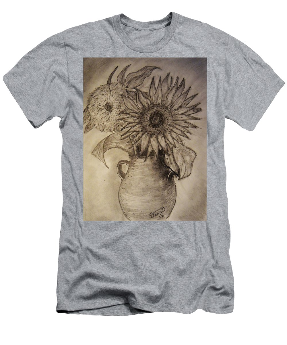 Still Life Men's T-Shirt (Athletic Fit) featuring the drawing Still Life Two Sunflowers In A Clay Vase by Jose A Gonzalez Jr