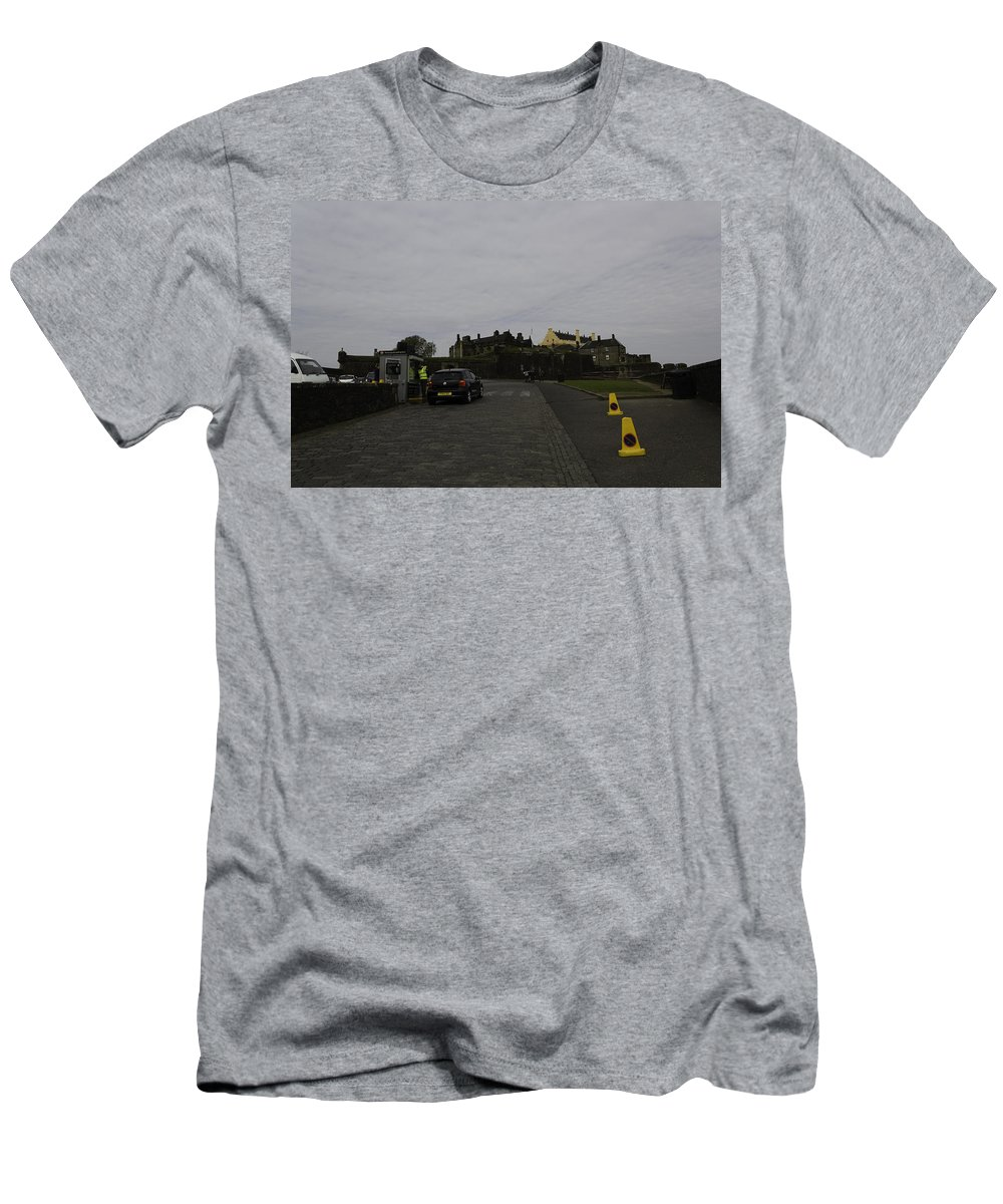 Action Men's T-Shirt (Athletic Fit) featuring the photograph Stirling Castle And The Parking Area For The Castle by Ashish Agarwal