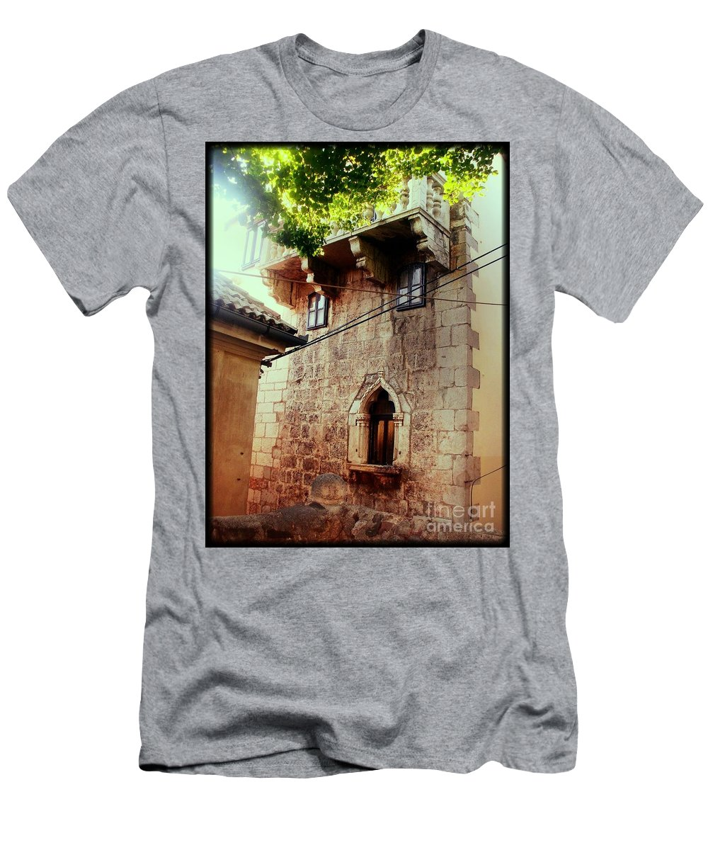 Stone House Men's T-Shirt (Athletic Fit) featuring the photograph Stone House by Nina Ficur Feenan