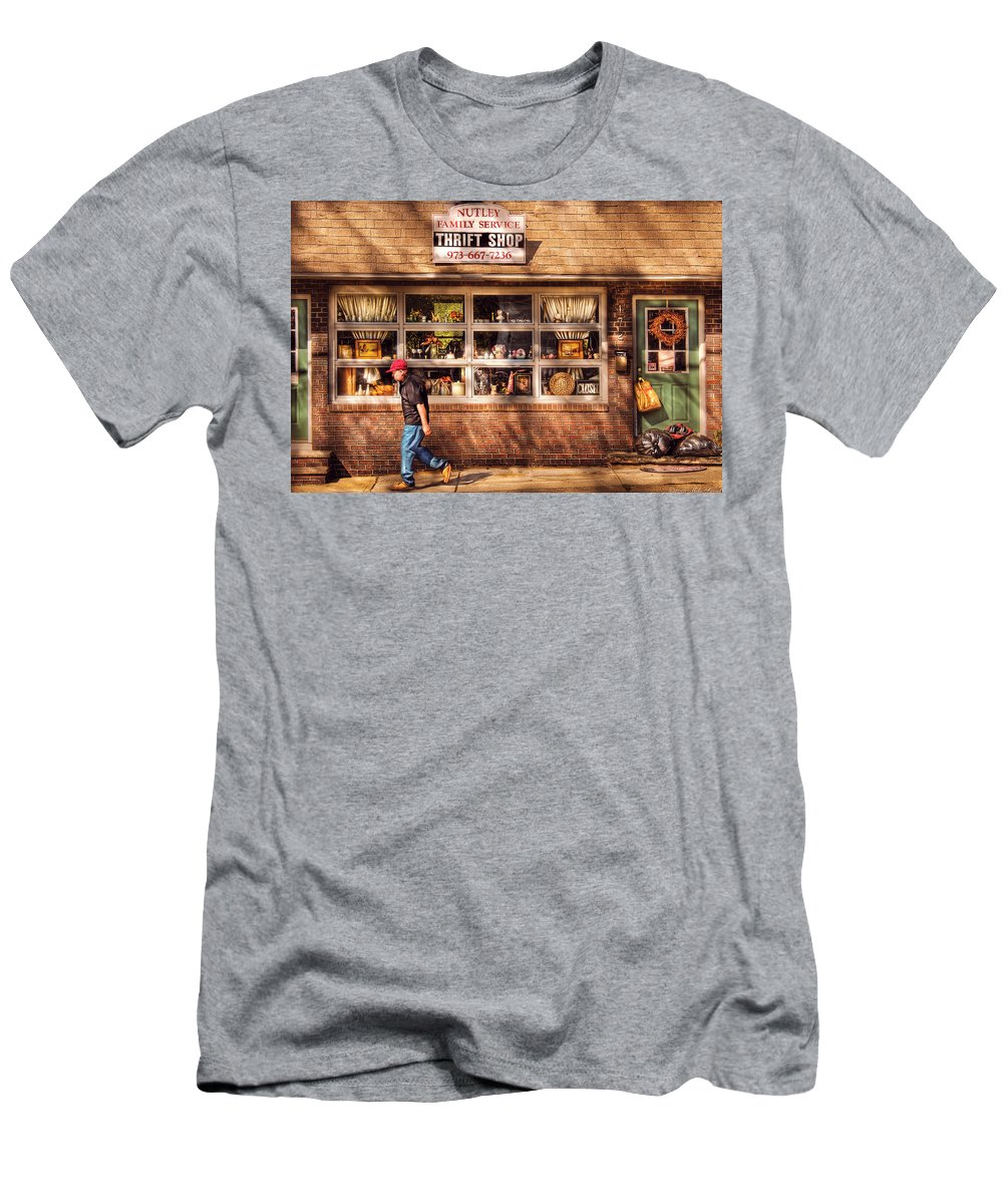 Savad Men's T-Shirt (Athletic Fit) featuring the photograph Store - The Thrift Shop by Mike Savad