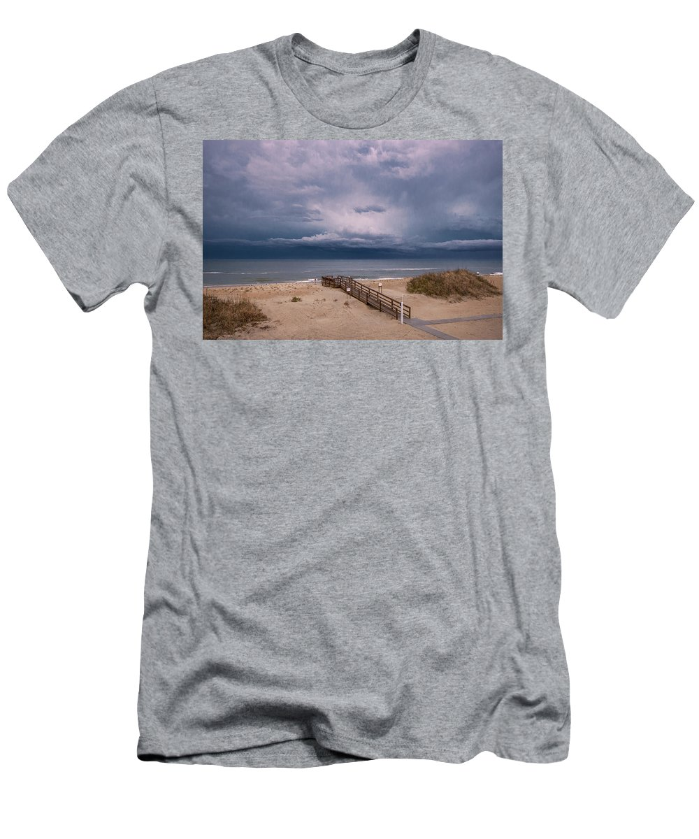 America Men's T-Shirt (Athletic Fit) featuring the photograph Storm Clouds On The Outer Banks by Mary Almond
