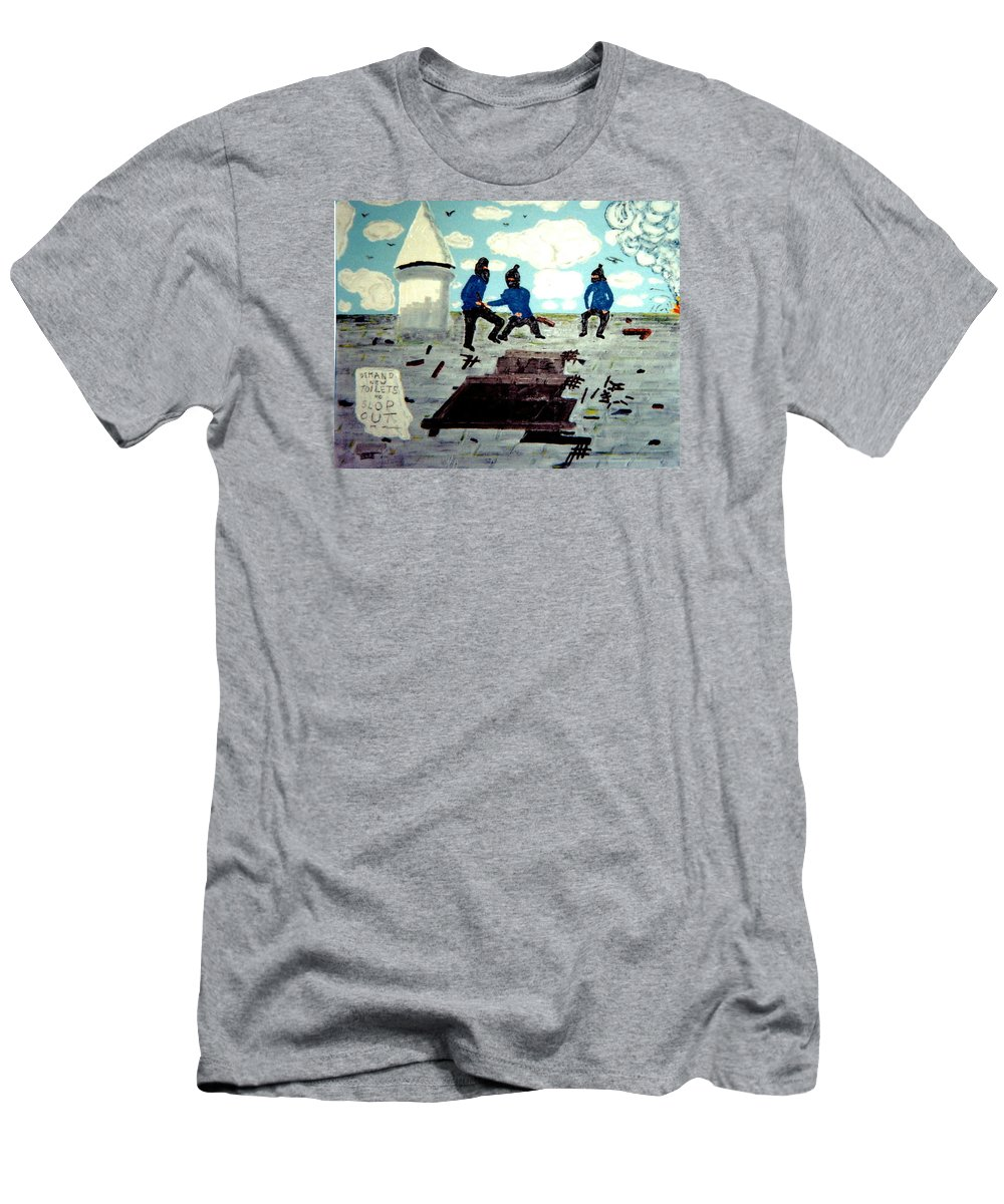 Historical Art Men's T-Shirt (Athletic Fit) featuring the painting Strangeways Prison Riots Uk.1990s by MERLIN Vernon