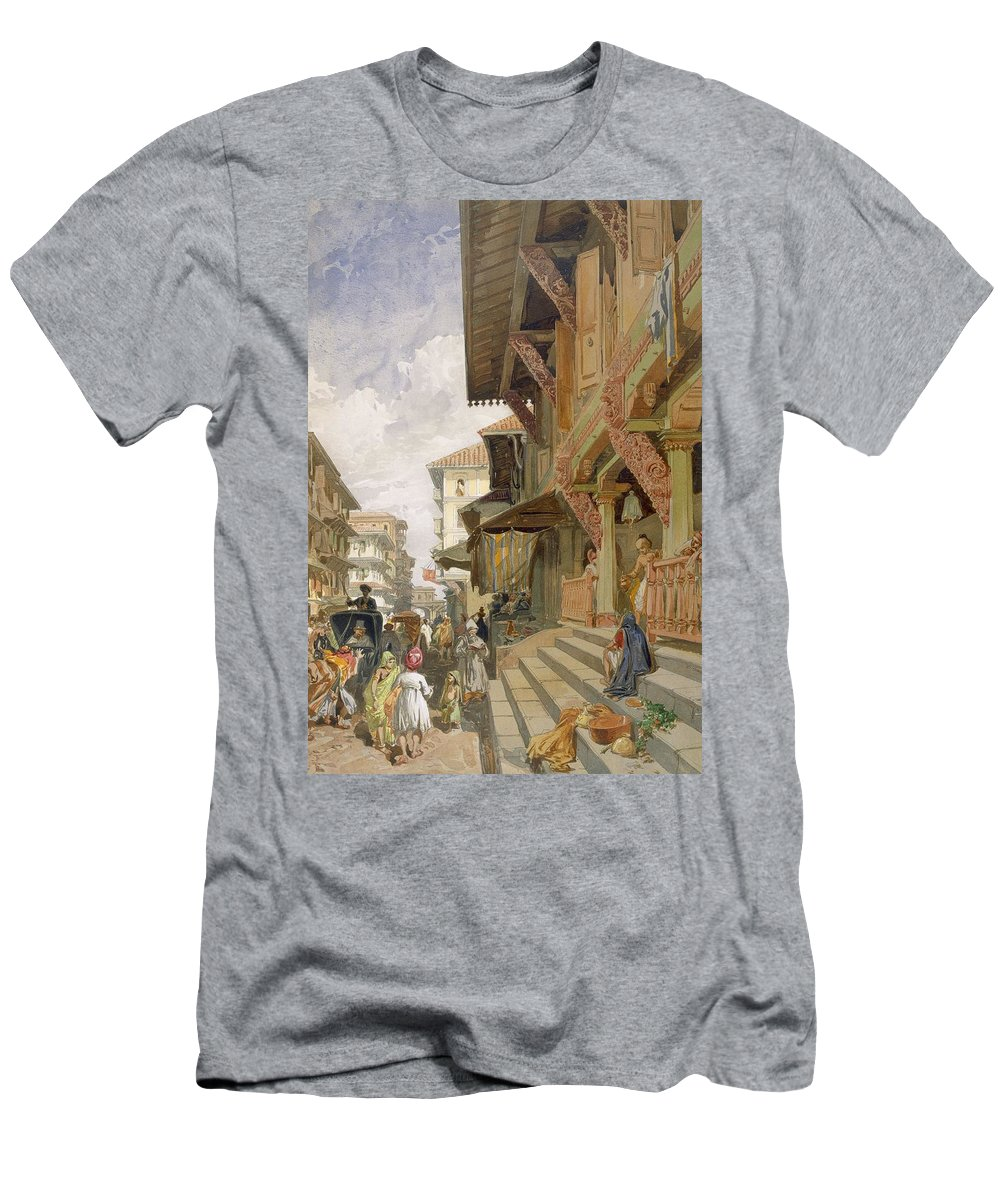 Indian Men's T-Shirt (Athletic Fit) featuring the drawing Street In Bombay, From India Ancient by William 'Crimea' Simpson