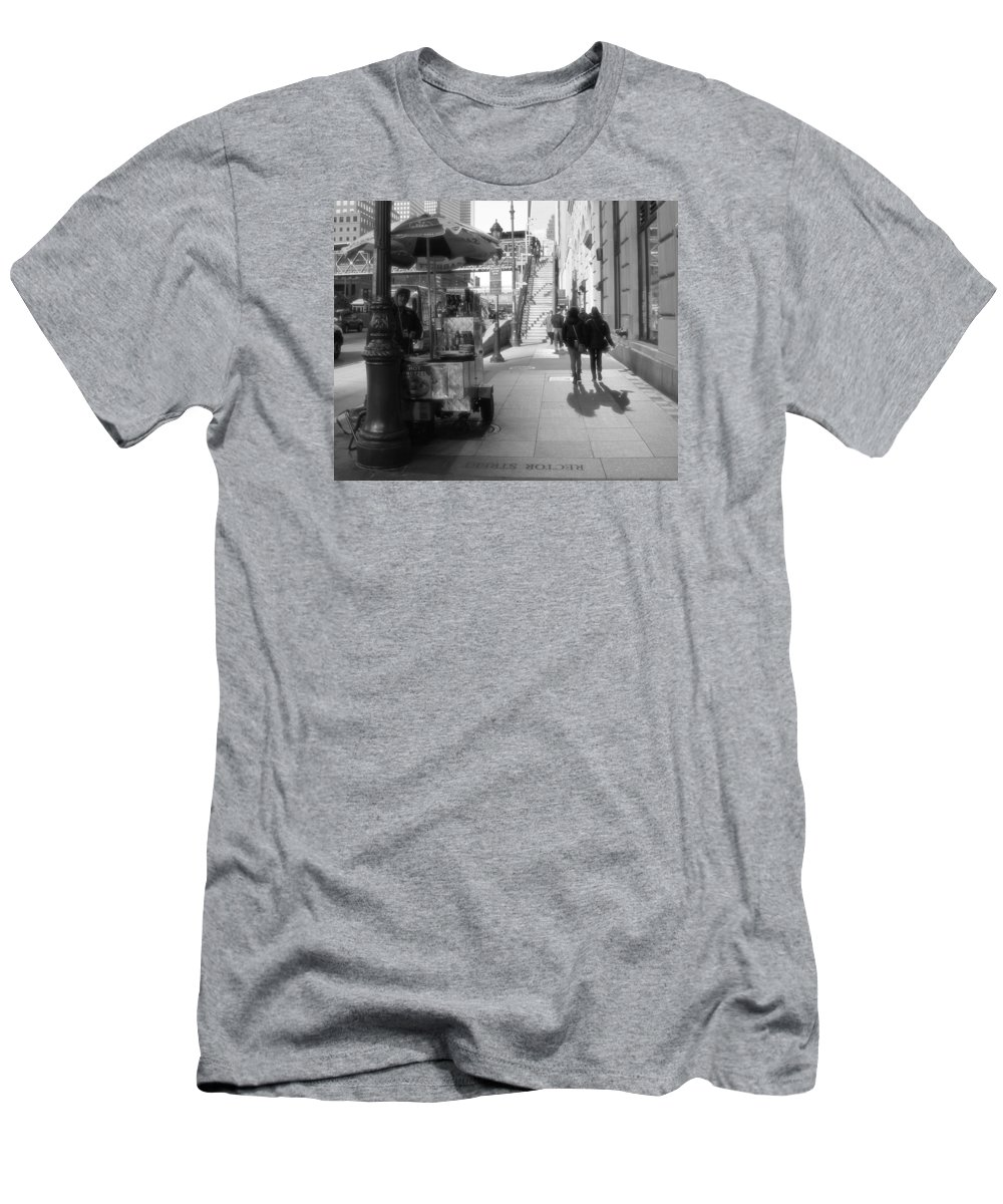 Street Vendor And Stairs In New York City Men's T-Shirt (Athletic Fit) featuring the photograph Street Vendor And Stairs In New York City by Dan Sproul