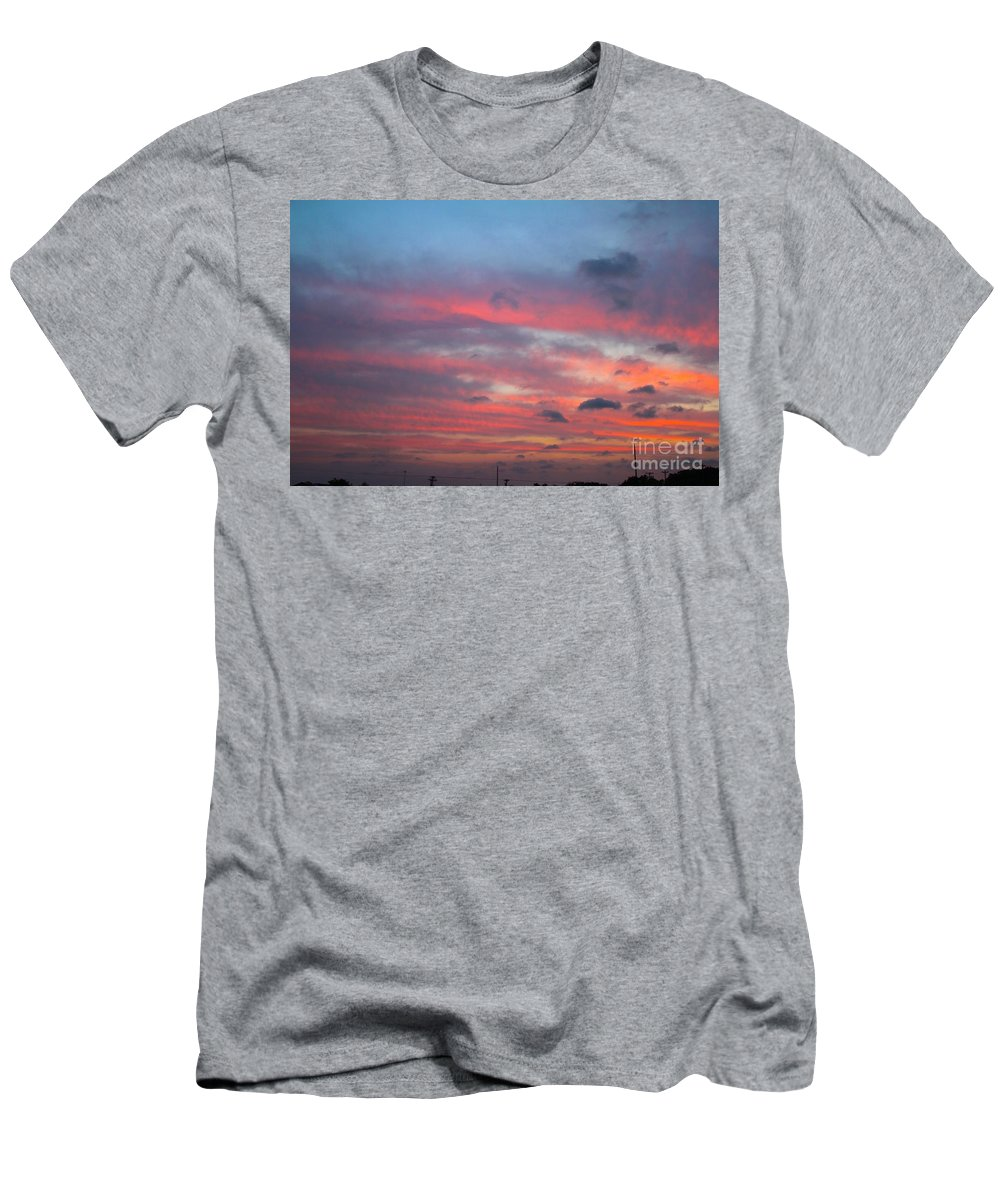 Strings Of Fire In The Sky Men's T-Shirt (Athletic Fit) featuring the photograph Strings Of Fire In The Sky. by L L L