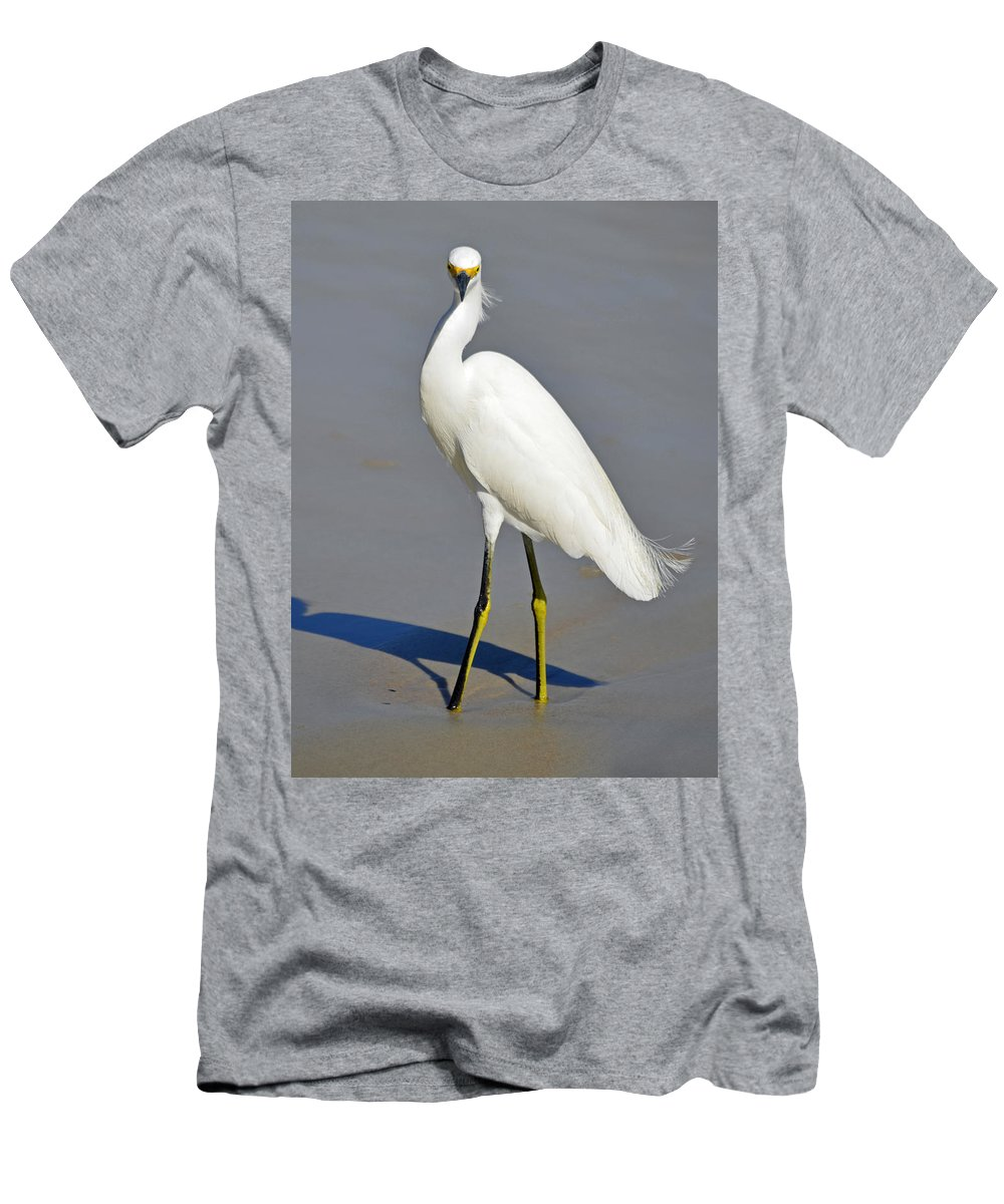 Egret Men's T-Shirt (Athletic Fit) featuring the photograph Stuck In The Sand by Lori Tambakis
