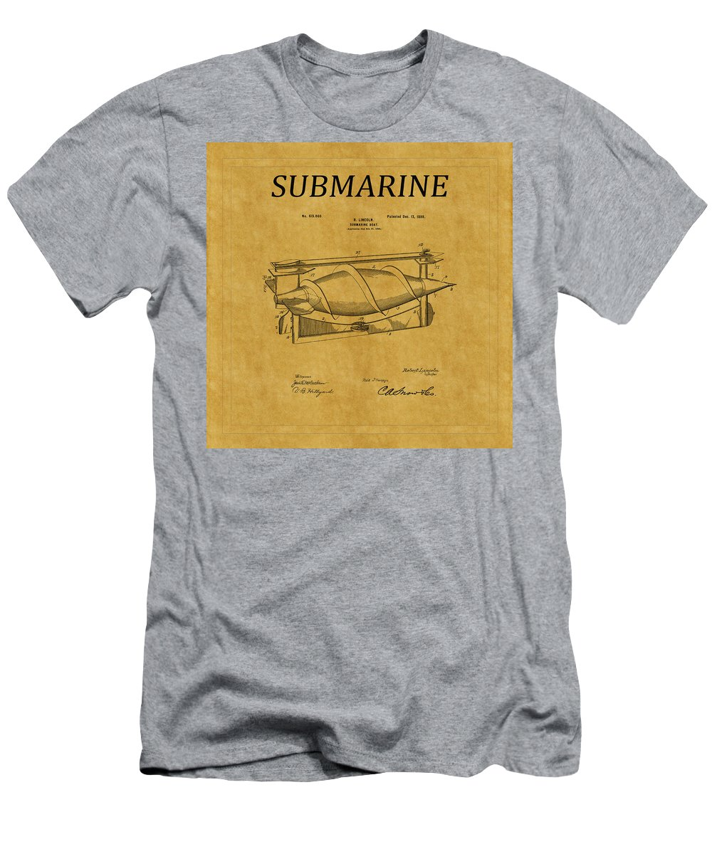 Sub Men's T-Shirt (Athletic Fit) featuring the photograph Submarine Patent 3 by Andrew Fare