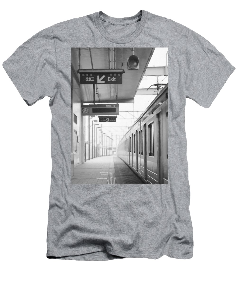 System Men's T-Shirt (Athletic Fit) featuring the painting Subway Station 4 by Jeelan Clark