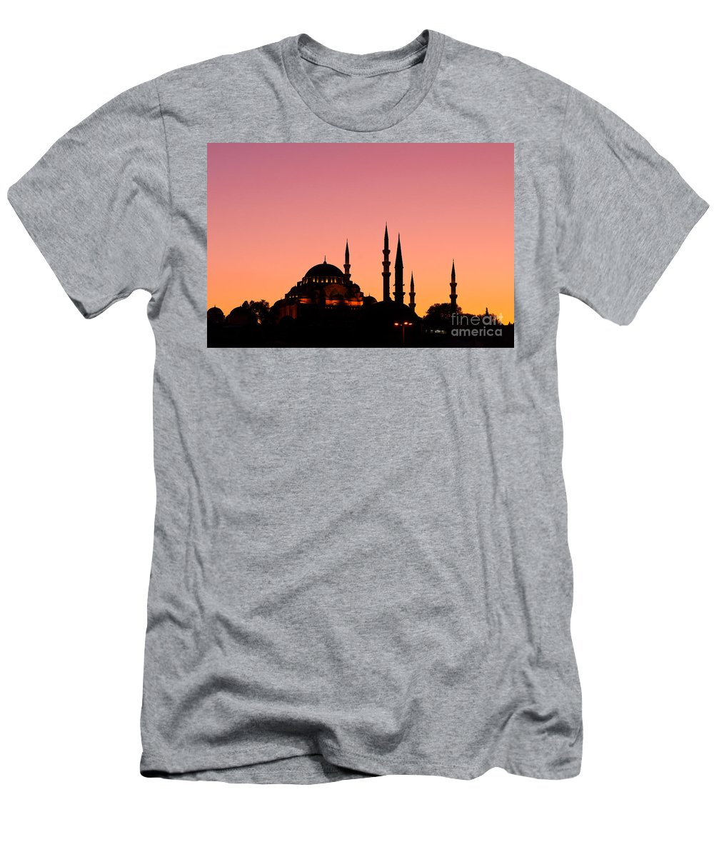 Istanbul Men's T-Shirt (Athletic Fit) featuring the photograph Suleymaniye Sundown 01 by Rick Piper Photography