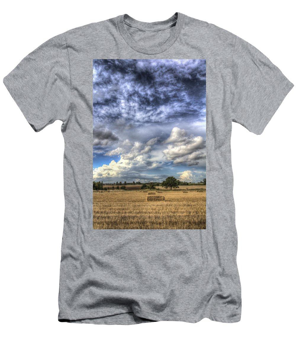 Farm Men's T-Shirt (Athletic Fit) featuring the photograph Summer Sky Farm by David Pyatt
