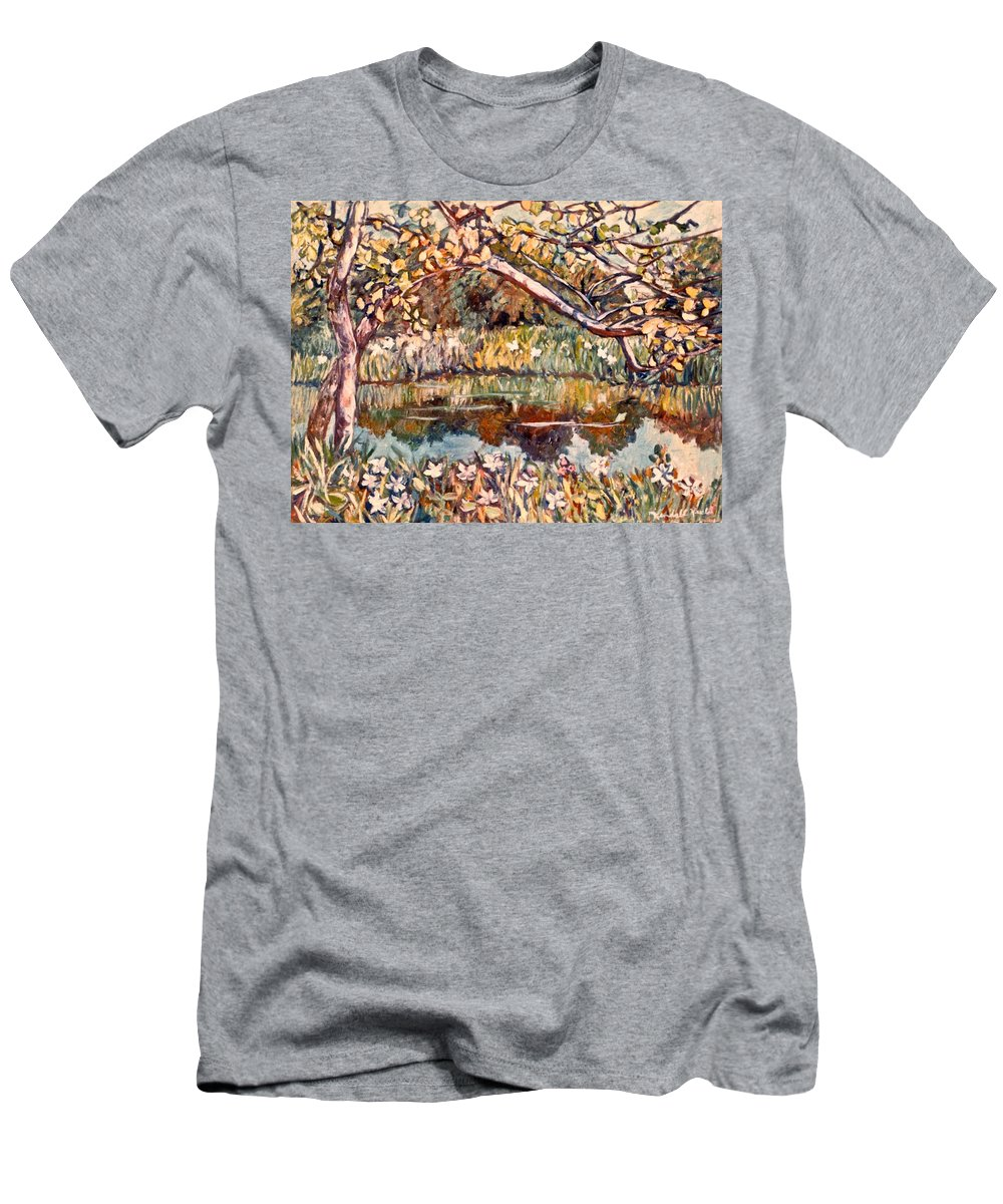 Pond Men's T-Shirt (Athletic Fit) featuring the painting Summer Water by Kendall Kessler