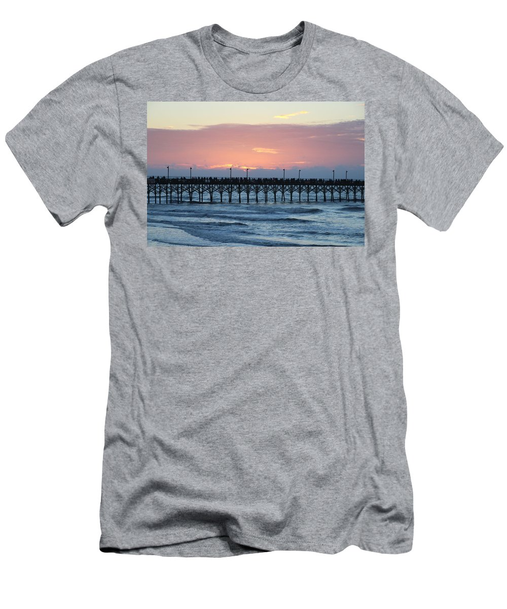 Sun Up Men's T-Shirt (Athletic Fit) featuring the photograph Sun Over Crowed Pier by Rand Wall