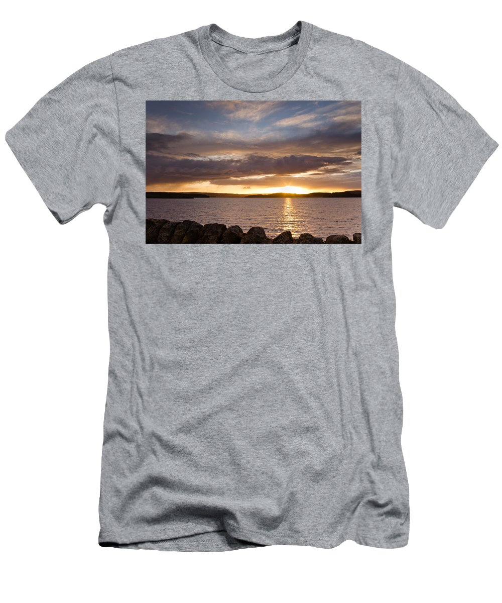 Northumberland Men's T-Shirt (Athletic Fit) featuring the photograph Sun Sets On Kielder Reservoir by David Head