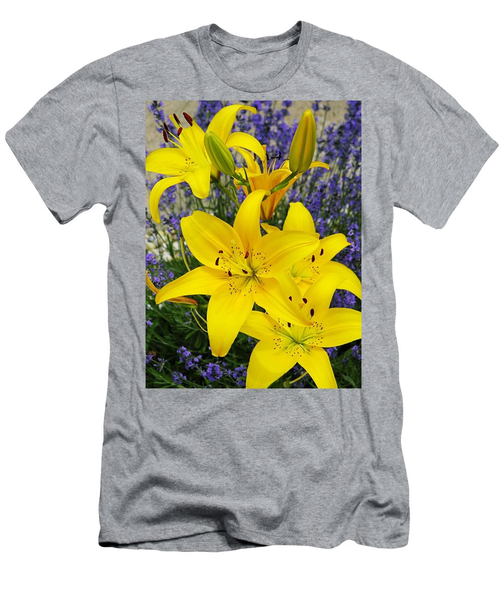 Garden Men's T-Shirt (Athletic Fit) featuring the photograph Sunny Asiatics With Lavender by Chris Berry