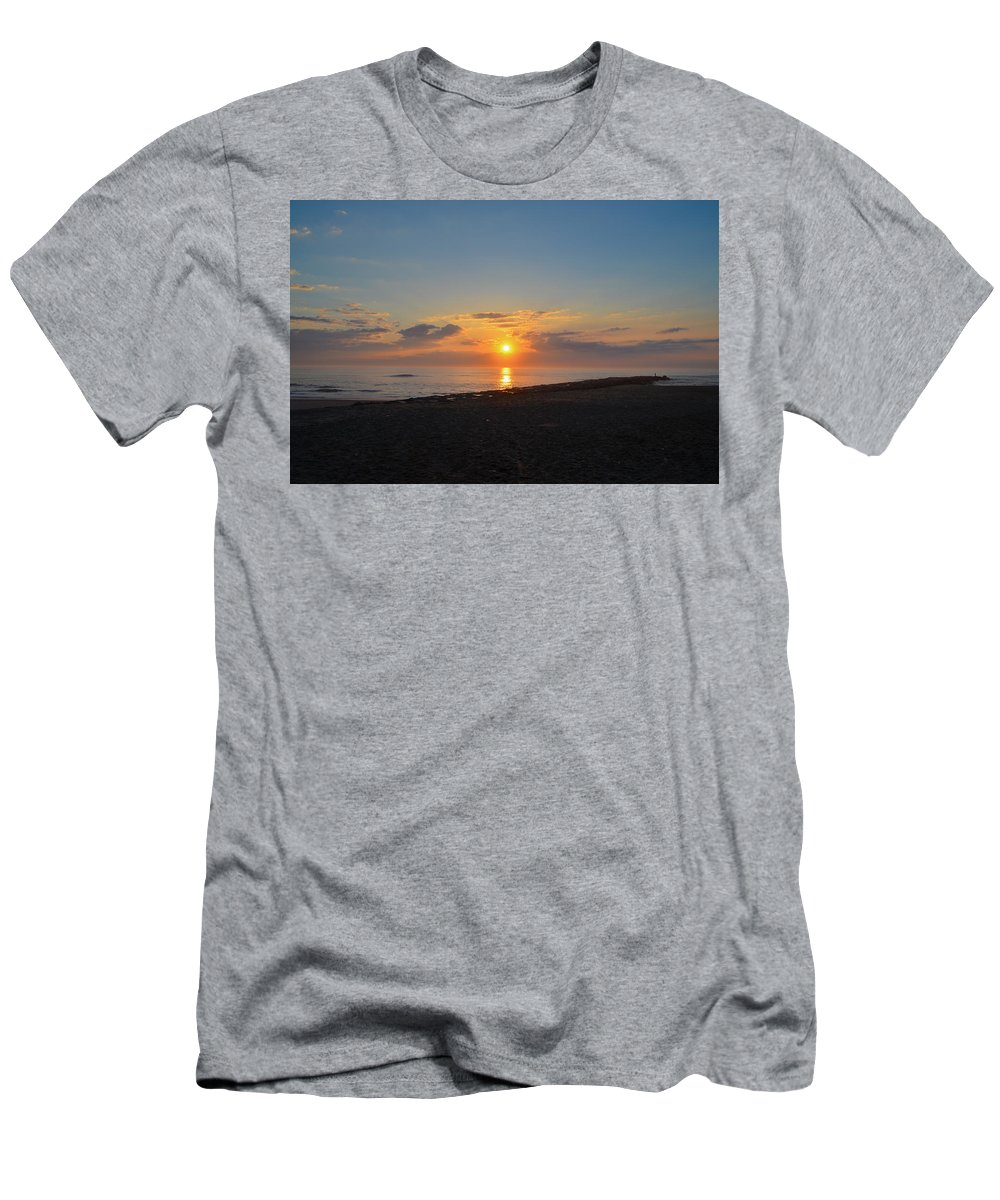 Sunrise Men's T-Shirt (Athletic Fit) featuring the photograph Sunrise At The Shore by Bill Cannon