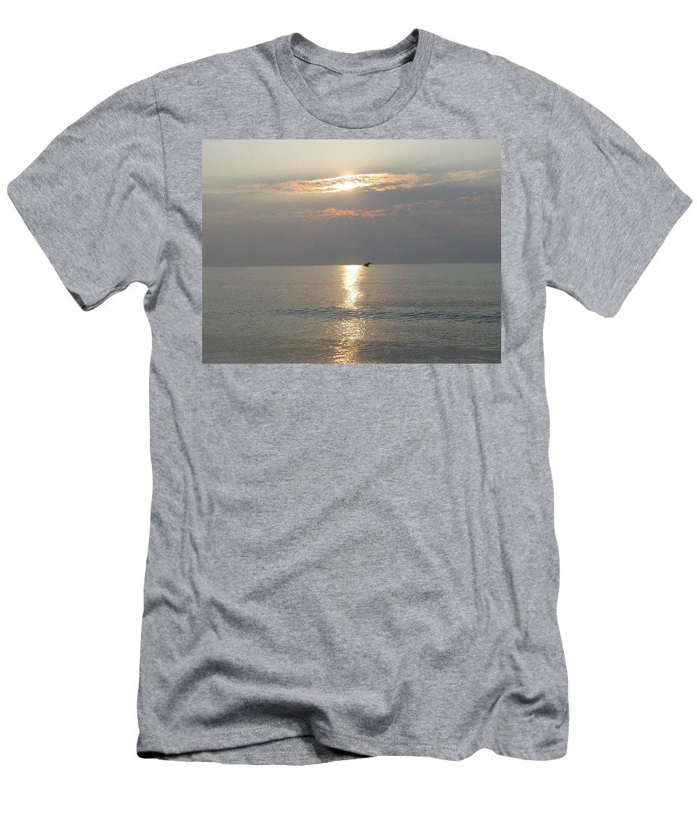 Landscape Men's T-Shirt (Athletic Fit) featuring the photograph Sunrise Flight by Ellen Meakin