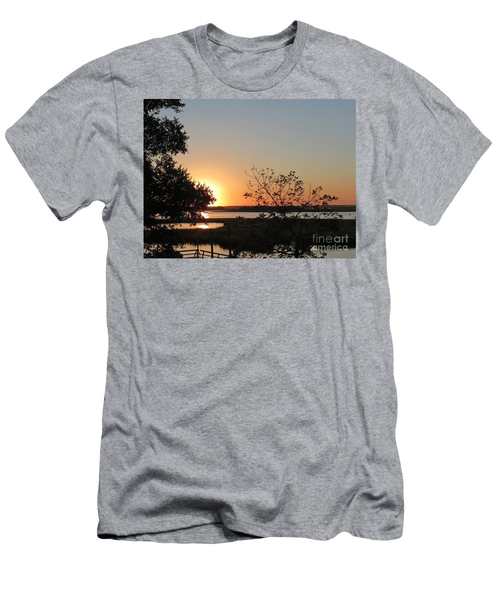 Crissy Anderson Men's T-Shirt (Athletic Fit) featuring the photograph Sunrise Is Calling On Nc Waterway by Crissy Anderson