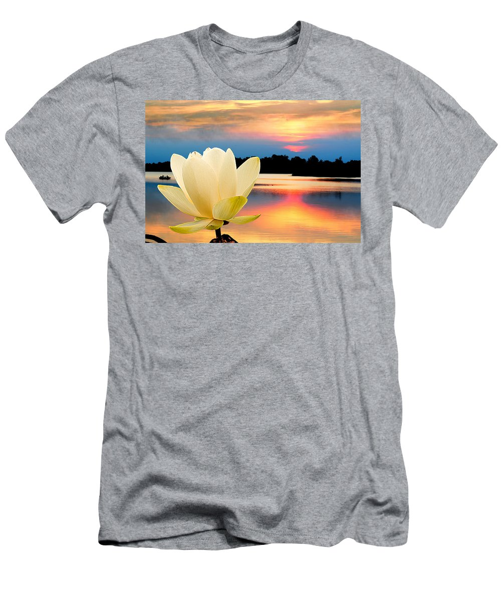 Men's T-Shirt (Athletic Fit) featuring the photograph Sunrise On Lotus Lillie by Randall Branham