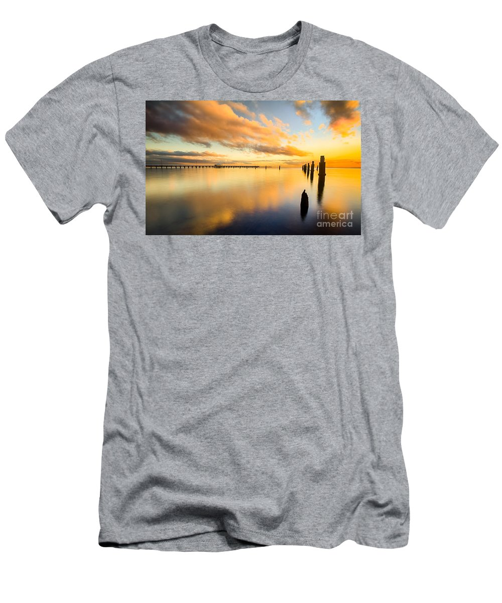 Nature Men's T-Shirt (Athletic Fit) featuring the photograph Sunrise Reflections by Silken Photography