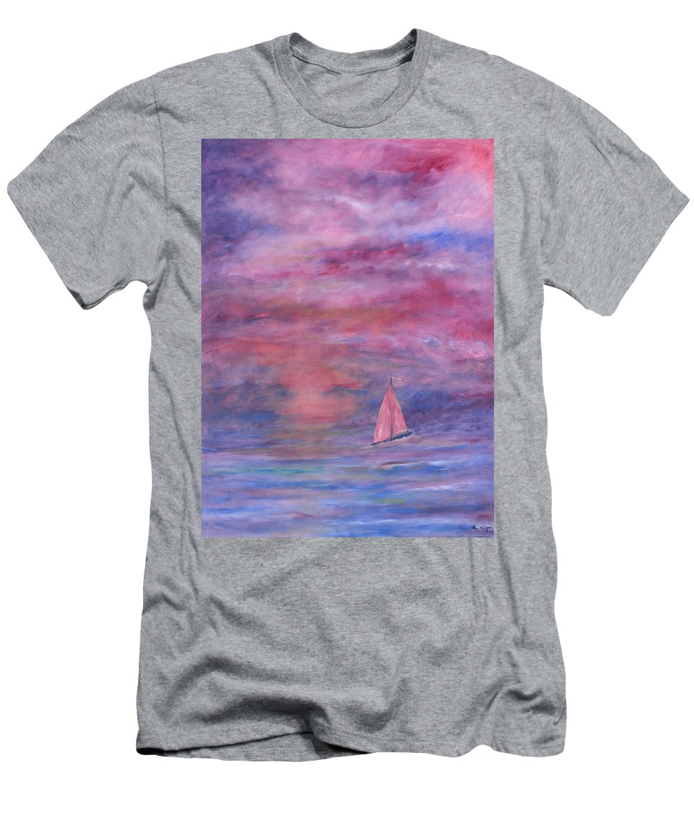 Saling T-Shirt featuring the painting Sunset Adventure by Ben Kiger