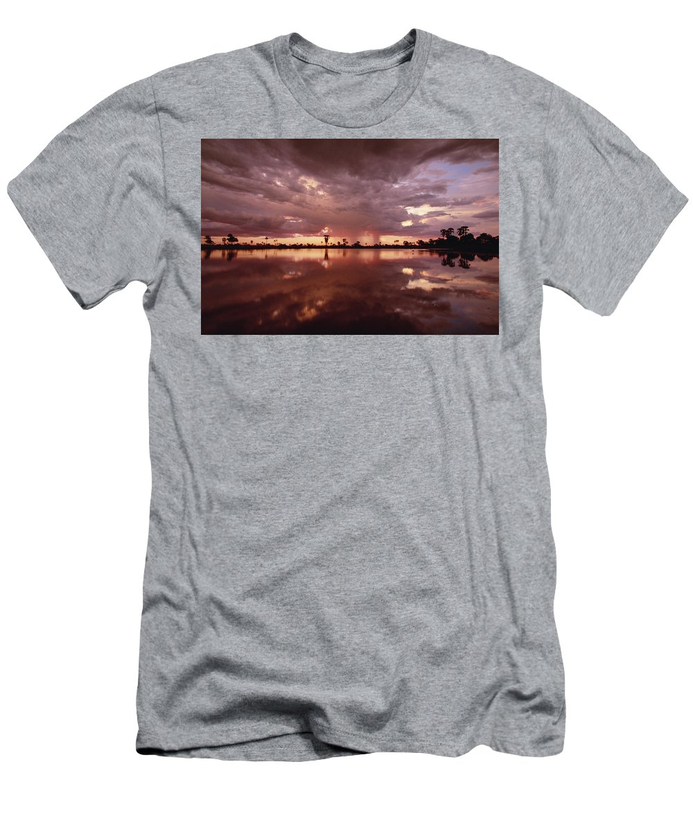 Feb0514 Men's T-Shirt (Athletic Fit) featuring the photograph Sunset And Clouds Over Waterhole by Gerry Ellis