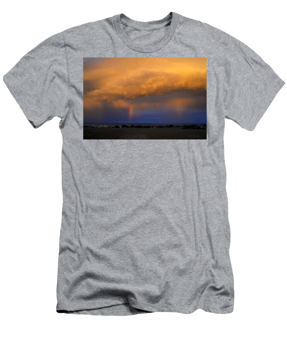 Sunset Men's T-Shirt (Athletic Fit) featuring the photograph Sunset And Rainbows by Donna Blackhall