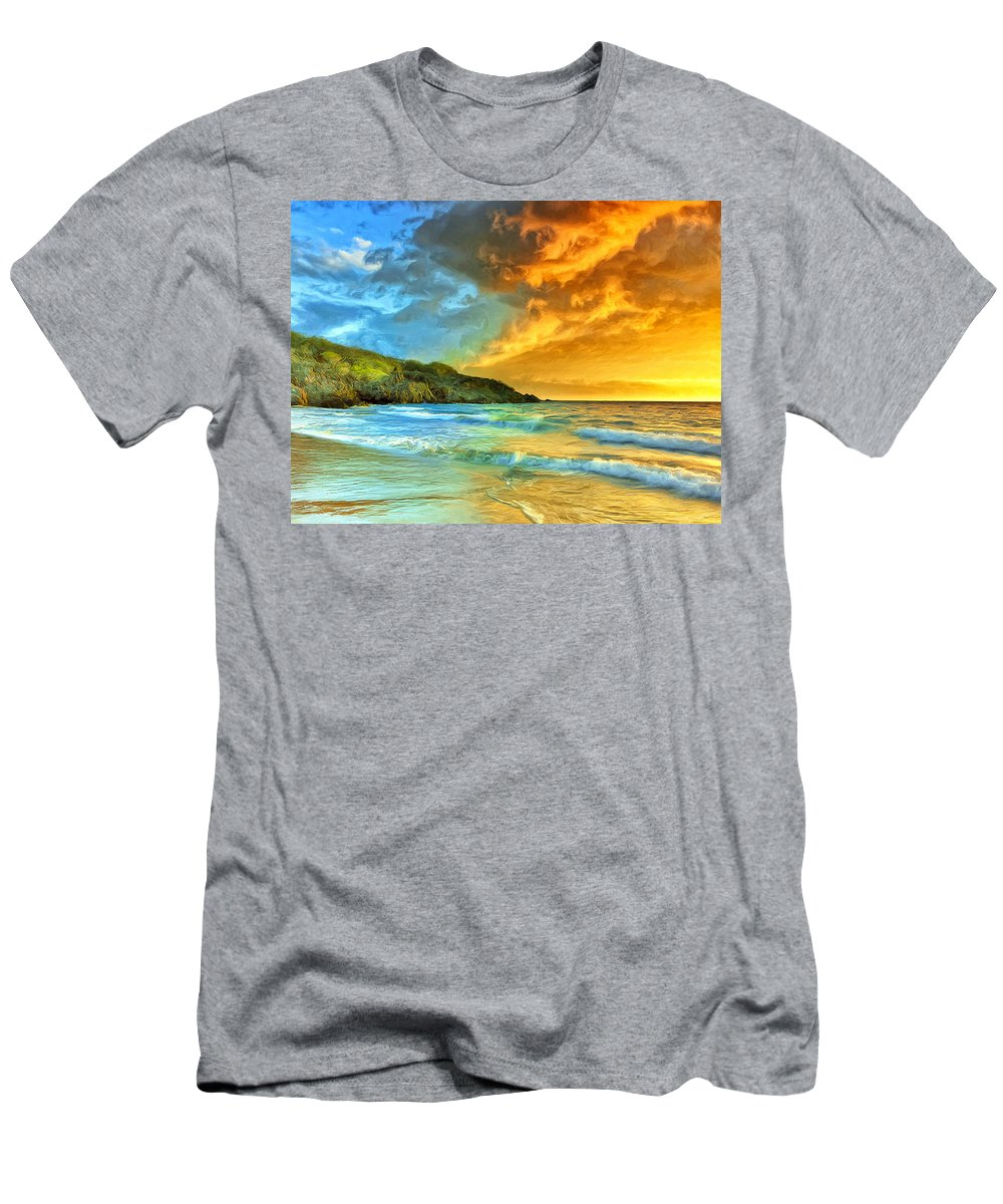 Sunset Men's T-Shirt (Athletic Fit) featuring the painting Sunset At Hapuna Beach by Dominic Piperata
